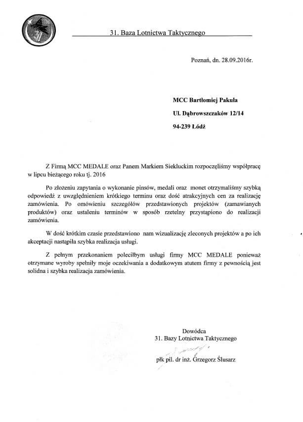 Rekomendacja od 31 Bazy Lotnictwa Ttaktycznego