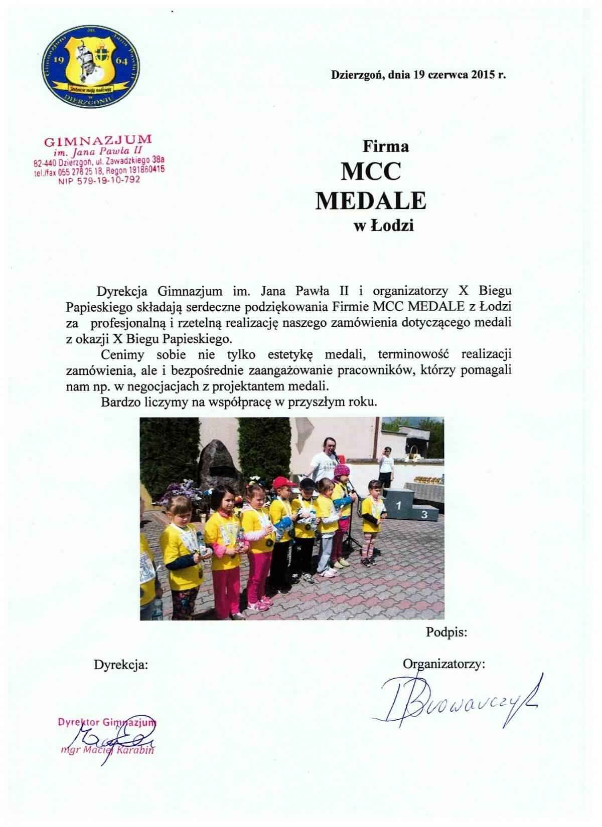 Rekomendacje dla Firmy MCC Medale przez Gimnazjum w Dzierzgoniu za produkcje medali na Bieg Papieski