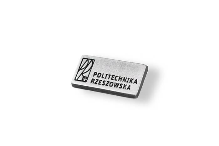 Politechnika Rzeszowska - przypinka do klapy marynarki wyprodukowana przez MCC Medale