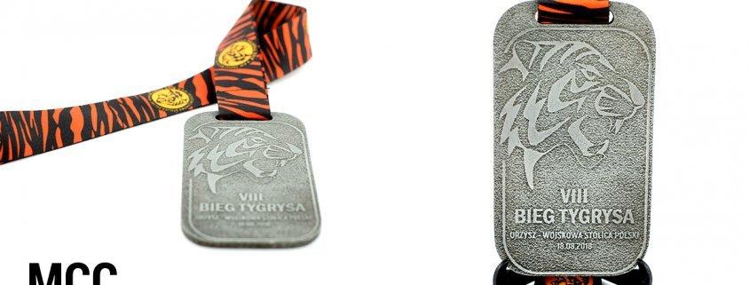 Medal na Bieg Tygrysa 2018 wyprodukowane przez MCC Medale