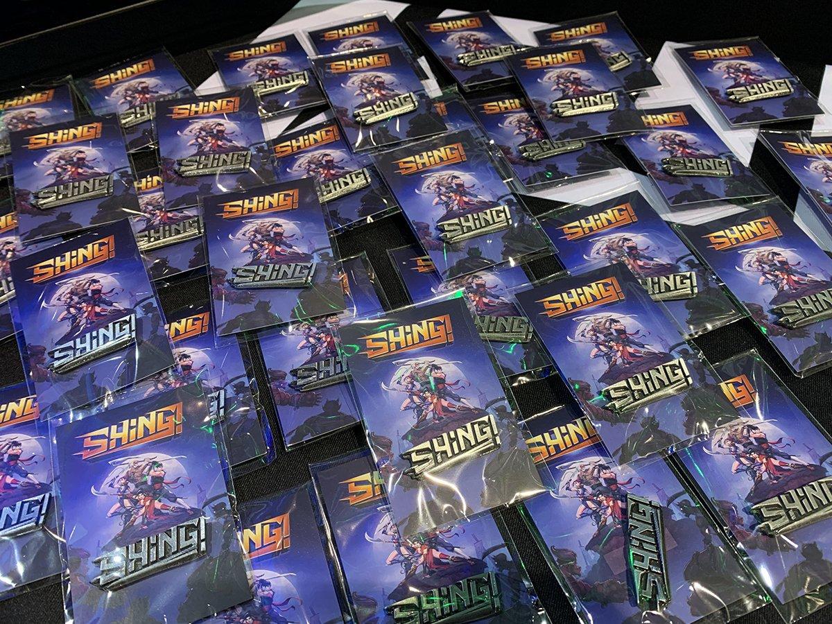 Pinsy z karteczką dla gry indie Shing!