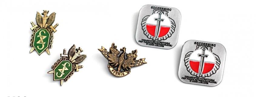 Przypinki patriotyczne wykonane na zamówienie przez MCC Medale