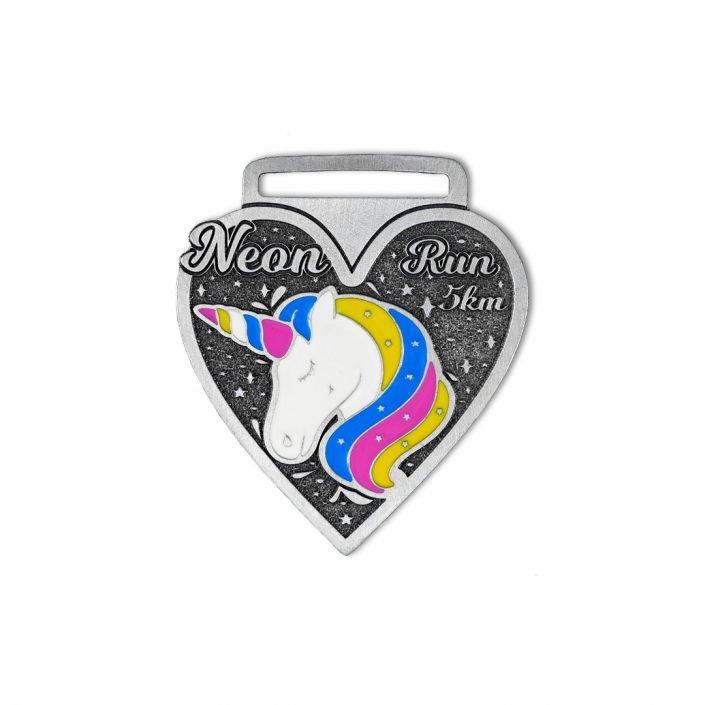 Medale sportowe kolorowe, emaliowane z jednorożcem, unicorn medal, od MCC Medale