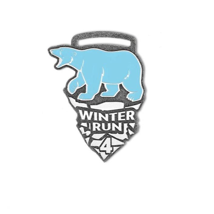 Medale sportowe na zamówienie, Winter Run 4, 5 km, emaliowany, kolorowy na zamówienie od producenta - MCC Medale