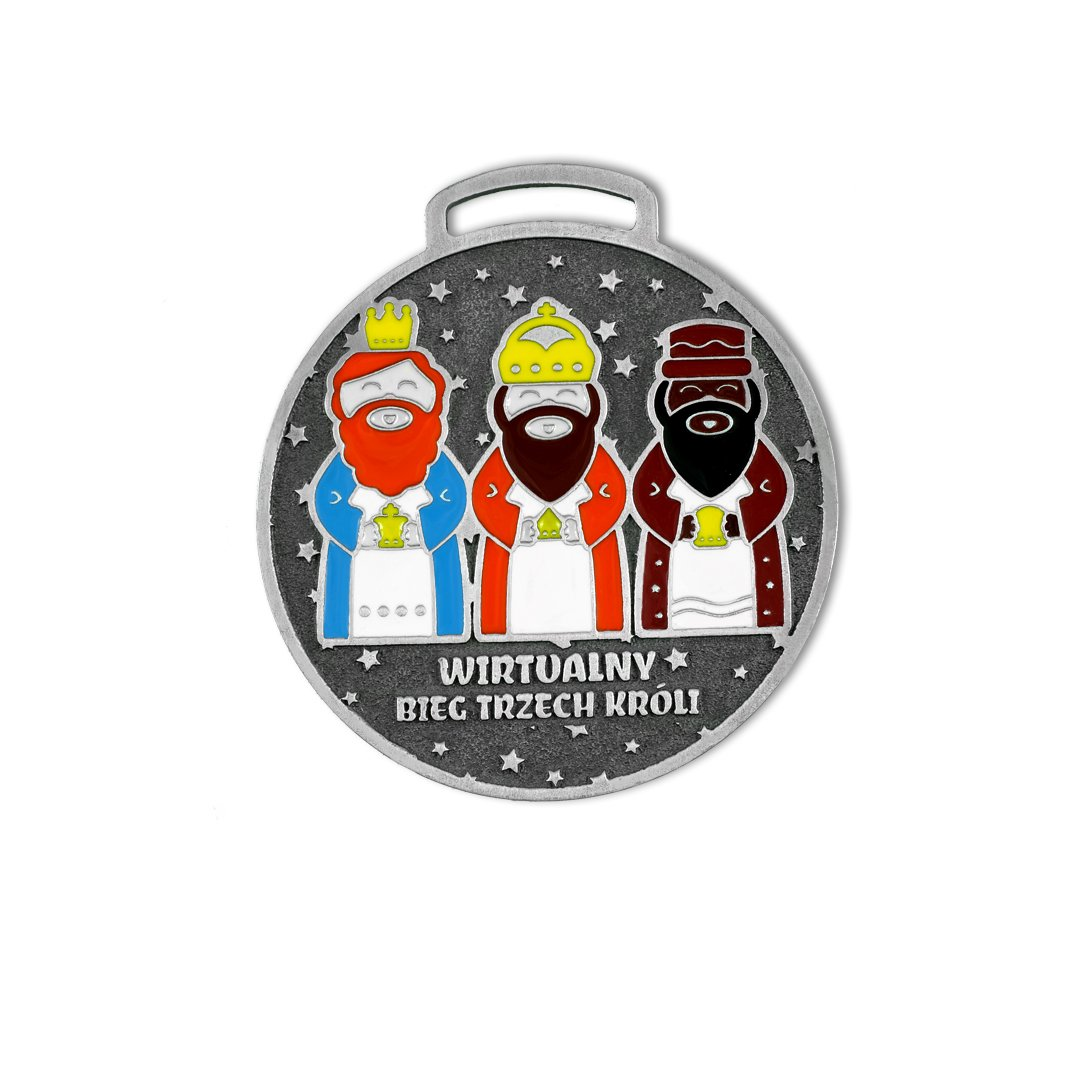 Medale emaliowane, na wirtualne biegi, Bieg Trzech Króli, producent MCC Medale