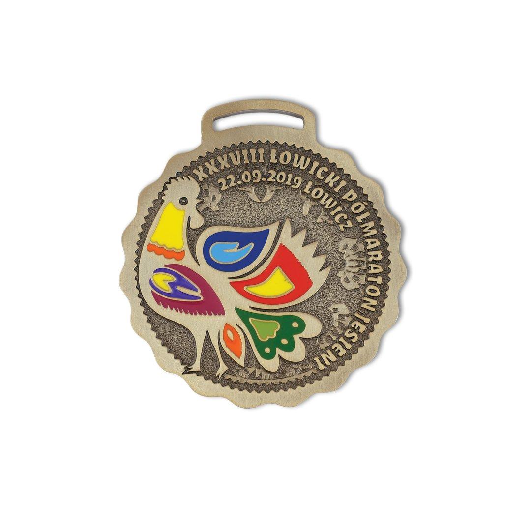 Medale sportowe dla dzieci, Medale dla dorosłych, kolorowe Łowicki Półmaraton Jesieni od producenta MCC Medale