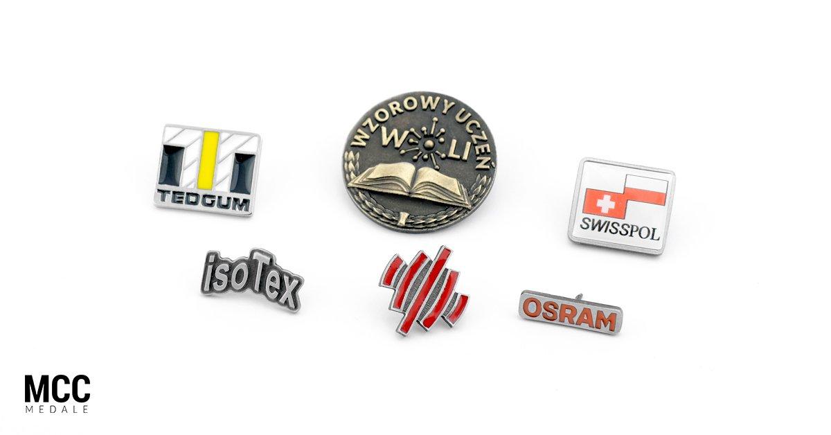 Pin do marynarki - przykładowe pinsy zrealizowane przez MCC Medale