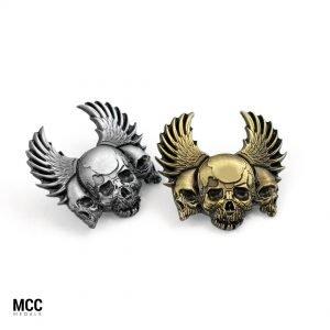 Pinsy dla motocyklistów z klubu Hanysy z trzema czaszkami