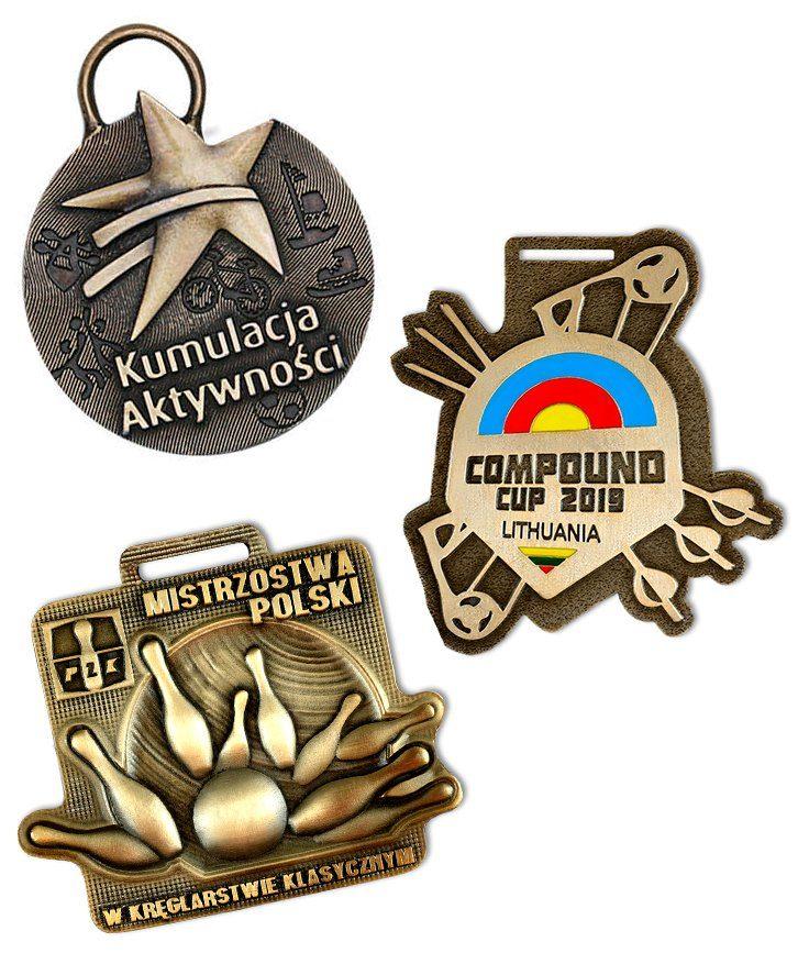 Kompozycja trzech medali sportowych, wykonanych na zamówienie przez MCC Medale