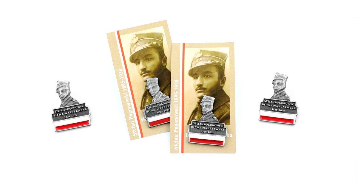 Pins upamiętniający Stefana Pogonowskiego wykonany przez producenta pinsów MCC Medale
