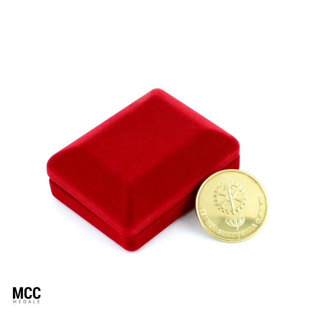 Moneta bita w etui wyprodukowana przez producenta monet MCC Medale