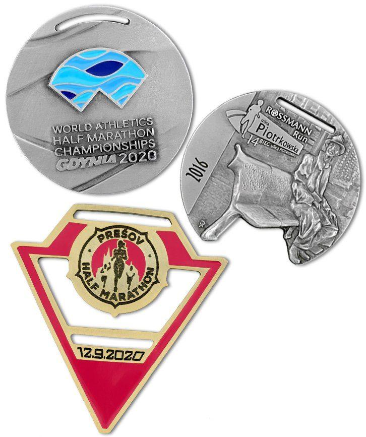 Kompozycja trzech medali biegowych wykonanych na zamówienie przez MCC Medale