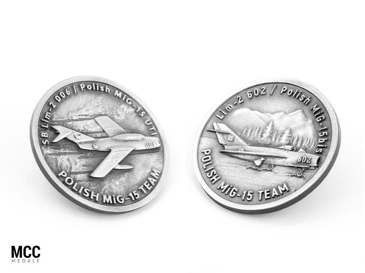 Medale okolicznościowe z MiG-15 - realizacja MCC Medale