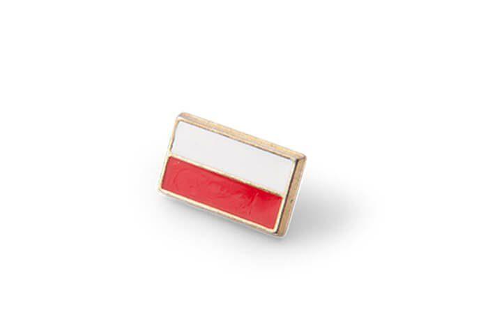 Dwukolorowa przypinka emaliowana w barwach Polski