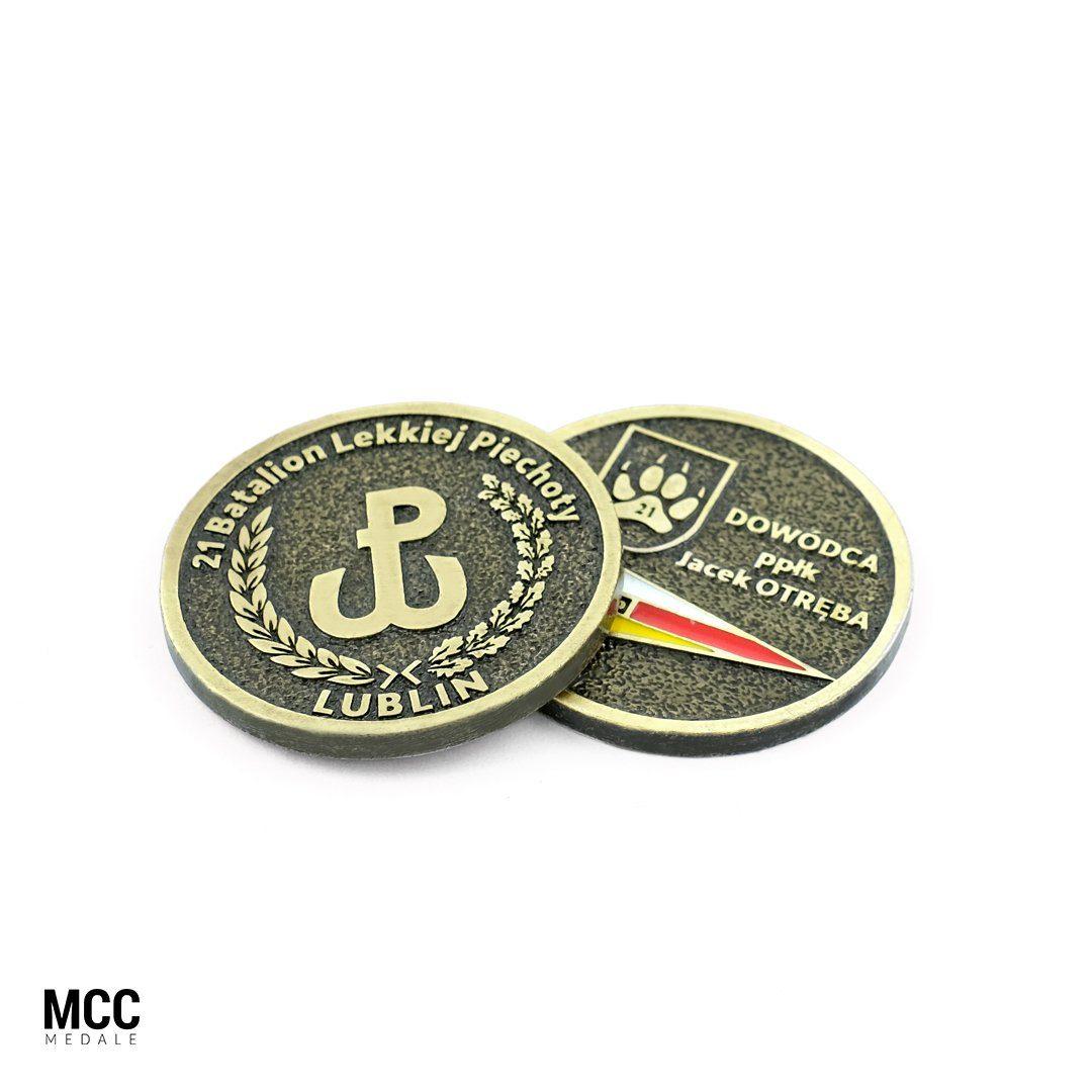 Projekt coinów wojskowych wykonanych przez MCC Medale dla 21 Batalionu Lekkiej Piechoty w Lublinie