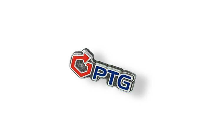 PTG - pins lakowany wyprodukowany przez producenta przypinek MCC Medale