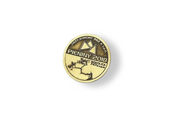 Złoty pins, wykonany przez MCC Medale dla Pieniny 2018