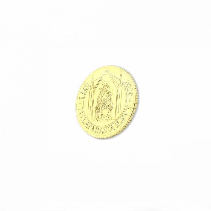 Moneta bita w kolorze złotym dla miasta Iława