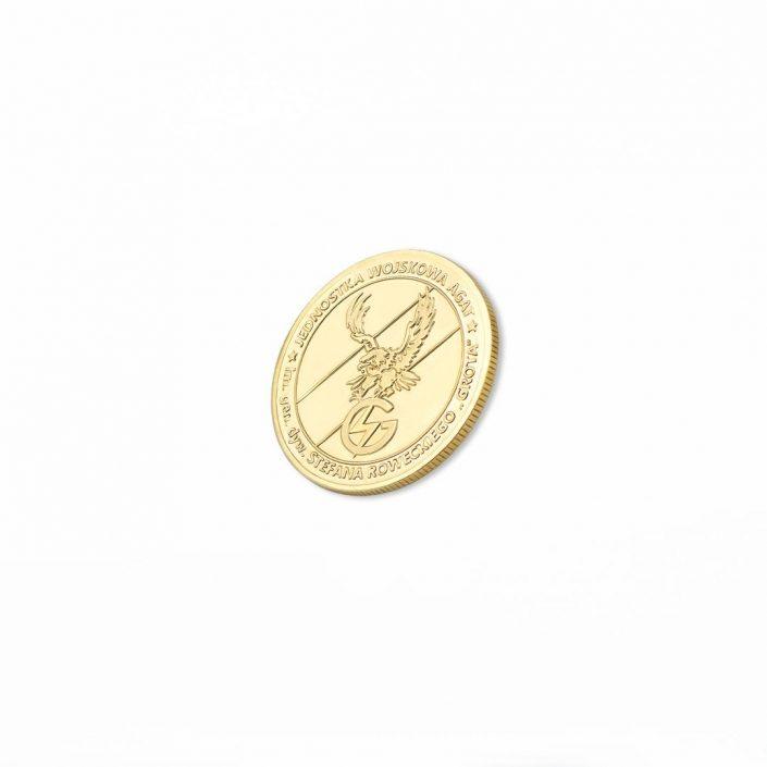 Moneta bita w kolorze złotym dla Jednostki Wojskowej AGAT