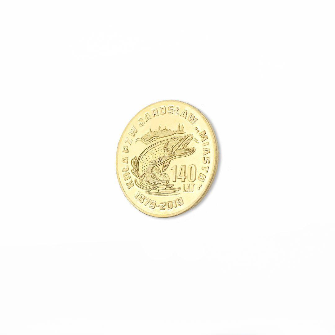 Moneta bita przez MCC Medale, kolor zloty, wykonana dla: Koło PZW Jarosław