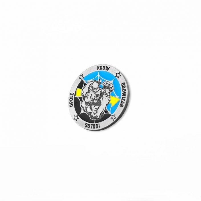 Kolorowa moneta emaliowana, odlana przez MCC Medale