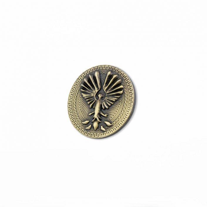Moneta odlewana w kolorze złotym z motywem Feniksa