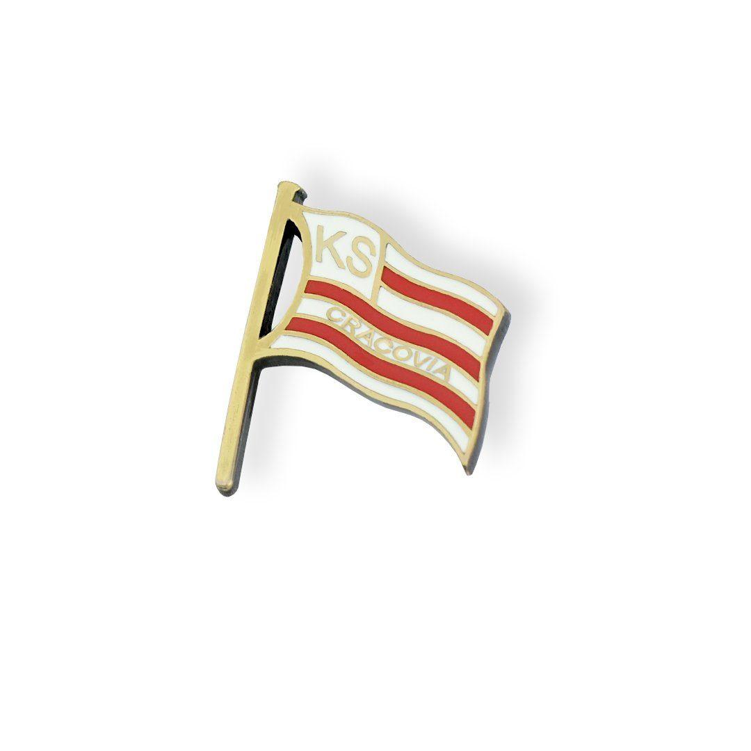 Pins w kształcie flagi dla klubu piłkarskiego KS Cracovia