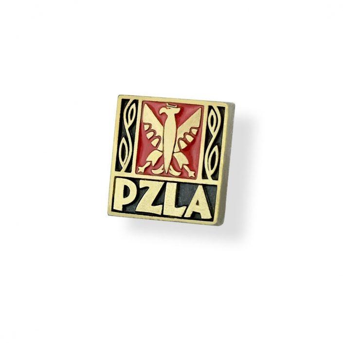 Pins z logiem Polskiego Związku Lekkoatletycznego