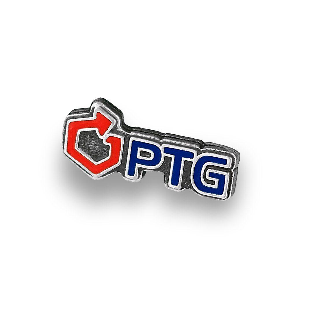 Pins reklamowy emaliowany w barwach firmy PTG