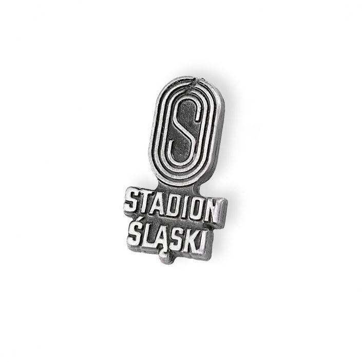Pins Stadion Śląski — klasyczna przypinka w kolorze srebrnym