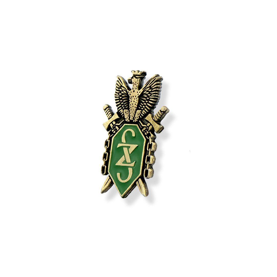 Pins z motywem herbu, emaliowany, wyprodukowany na zamówienie przez MCC Medale