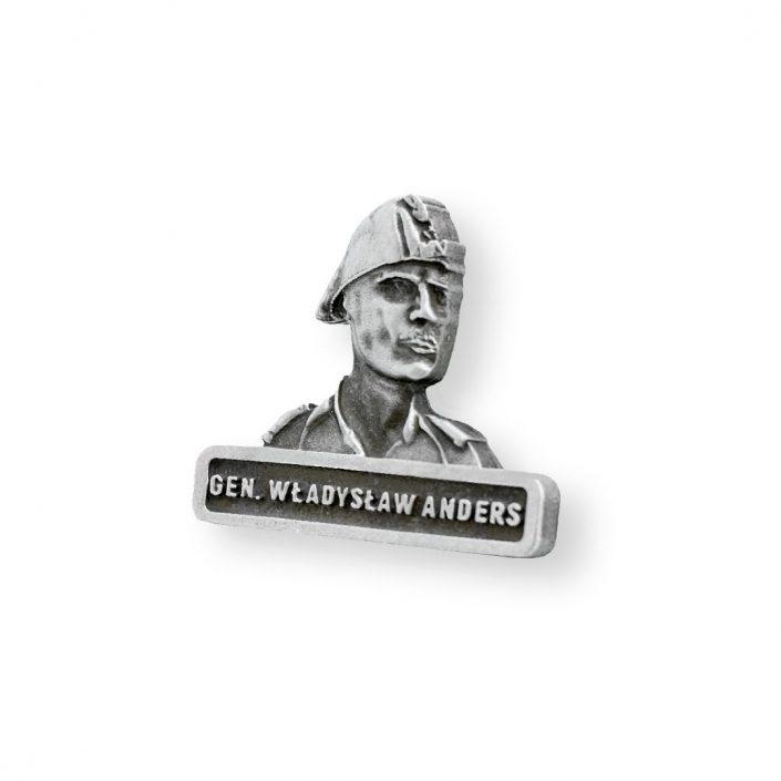 Przypinka wojskowa w kolorze srebra z gen. Andersem