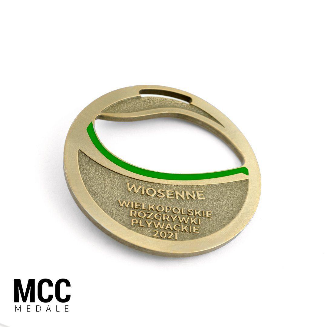 Wiosenne Wielkopolskie Rozgrywki Pływackie - medal dwuczęściowy wyprodukowany przez MCC Medale